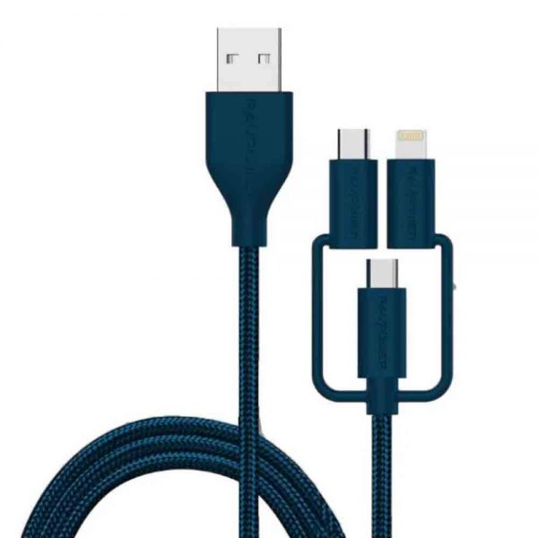 کابل تبدیل USB به لایتنینگ/ microUSB /USB-C راوپاور مدل RP-CB021