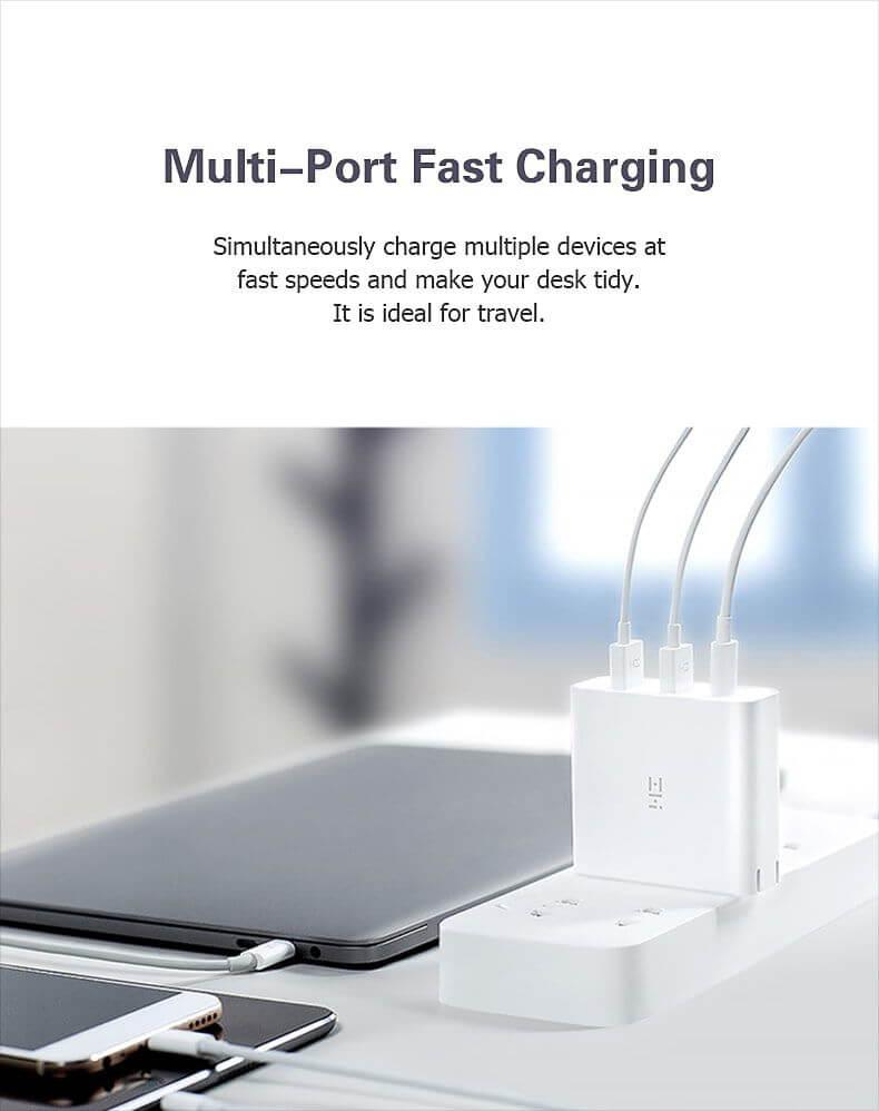 فست شارژر 65 واتی 3 پورت Xiaomi ZMI HA832